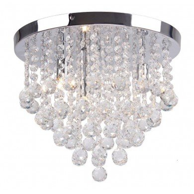 Clear Faceted Crystal Glass Flush Ceiling Light