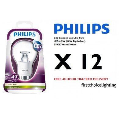 12 x Philips 6.5W (40W) B22 BC Bayonet Cap LED Lamps Bulbs 2700K Warm White