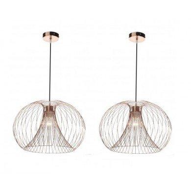Pair of Copper Wire 42W E27 Ceiling Pendants