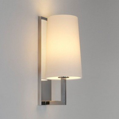 Astro Lighting - Riva 350 1214001 (988) & 5018004 (4080) - IP44 Polished Chrome Wall Light with White Shade