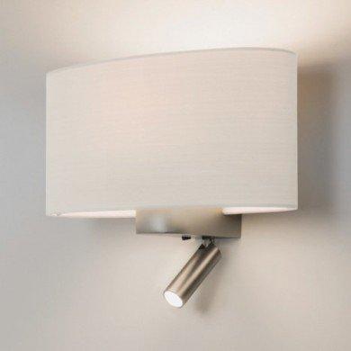 Astro Lighting - Napoli Reader LED 1185003 (7580) & 5014001 (4054) - Matt Nickel Reading Light with White Shade