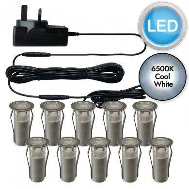 Set of 10 - 15mm Stainless Steel IP67 Cool White LED Plinth Decking Kit