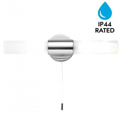 Polished Chrome 2xG9 IP44 Bathroom Wall Light With Pull Cord Switch