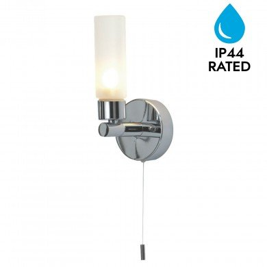 Polished Chrome IP44 Bathroom Wall Light With Pull Cord Switch