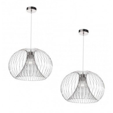 Pair of Polished Chrome Wire 42W E27 Ceiling Pendants