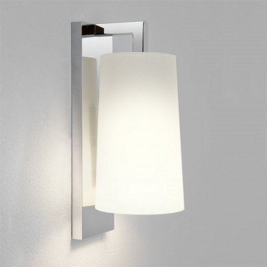 Astro Lighting - Lago 280 1297001 (7058) & 5019001 (4079) - IP44 Polished Chrome Wall Light with White Glass Shade