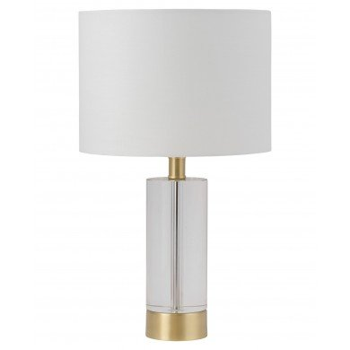 Ingo - 43cm Solid Crystal Table Lamp with White Fabric Shade