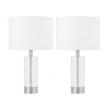 Pair of Ingo - 43cm Solid Crystal Table Lamps with White Fabric Shades