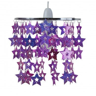 Pink and Purple Sparkly Star Design Easy Fit Light Shade
