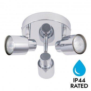 Chrome 3 Light IP44 Bathroom Round Spotlight Plate