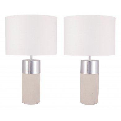 Pair of Layered Cylinder Concrete and Chrome Table Lamps with White Fabric Shades