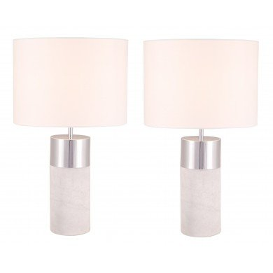 Pair of Layered Cylinder White Marble and Chrome Table Lamps with White Fabric Shades