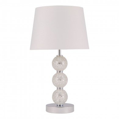 Stacked Mirrored Mosaic Table Lamp with White Fabric Shade