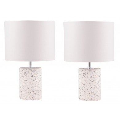 Pair of Cylinder White Terrazzo Table Lamps with White Fabric Shades