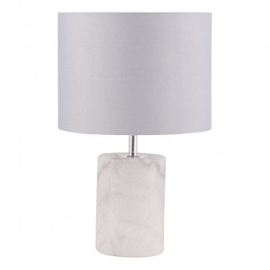 Cylinder White Marble Table Lamp with Grey Fabric Shade