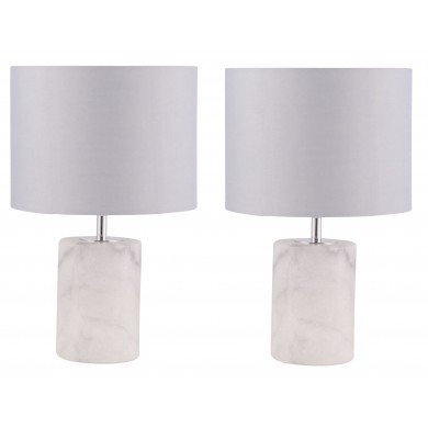 Pair of Cylinder White Marble Table Lamps with Grey Fabric Shades