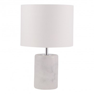 Cylinder White Marble Table Lamp with White Fabric Shade