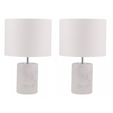 Pair of Cylinder White Marble Table Lamps with White Fabric Shades