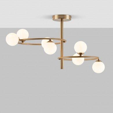 Contemporary 7 Light Satin Brass Retro Semi Flush With Opal Glass Shades