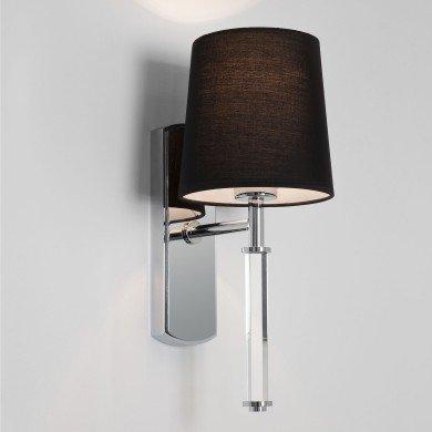 Astro Lighting - Delphi Single 1313002 (7136) & 5018012 (4139) - Polished Chrome Wall Light with Black Shade