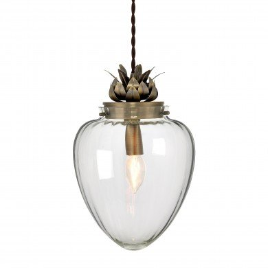 Pineapple Style Glass & Antique Brass Ceiling Pendant