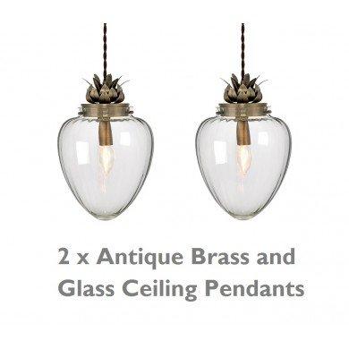 Pair of Glass & Antique Brass Ceiling Pendants