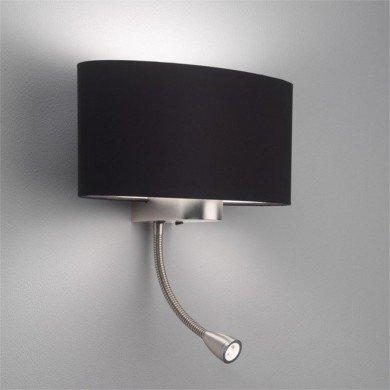 Astro Lighting - Napoli LED 1185002 (882) & 5014002 (4055) - Matt Nickel Reading Light with Black Shade