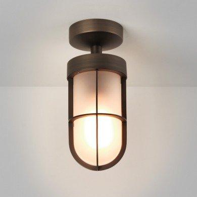 Astro Lighting - Cabin Frosted Semi Flush 1368011 (7853) - IP44 Bronze Ceiling Light