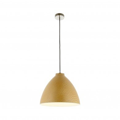 Modern Wood Effect Ceiling Light Dome Style Pendant Fitting