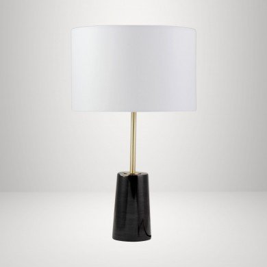 Black Marble and Satin Brass Table Lamp with White Fabric Shade