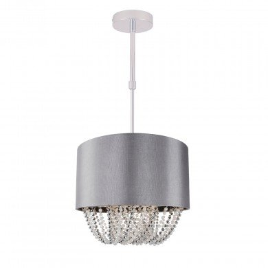 Grey Fabric Ceiling Adjustable Flush With Beaded Diffuser