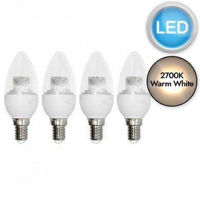 Set of 4 x 3.3W LED E14 Candle Light Bulbs