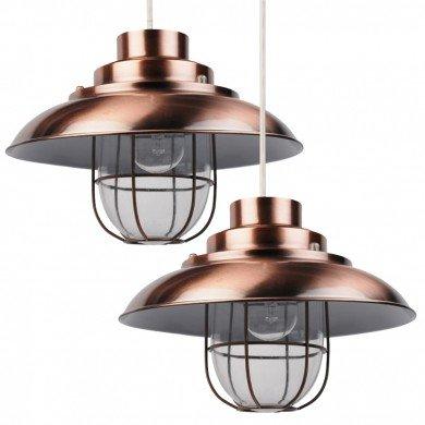 Pair of Antique Copper Fisherman's Lantern Pendant Shades