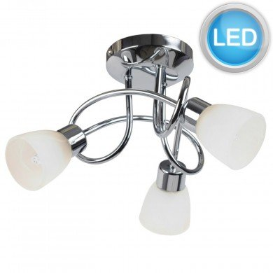 Chrome and Opal Glass 3 Light LED Ceiling Fitting