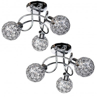 Pair of Chrome 3 Light Ceiling Fittings with Jewelled Shades