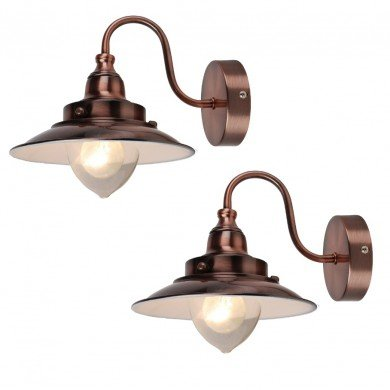 Pair of Antique Copper Fisherman's Lantern Wall Lights