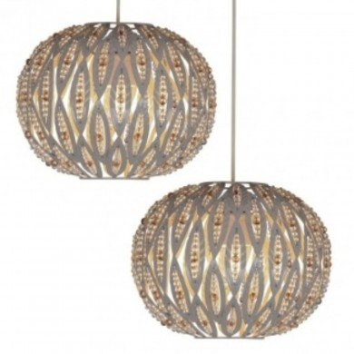 Pair of Taupe Metal Leaf Design Easy Fit Ceiling Shades