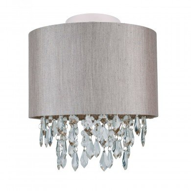 Silver Grey 250mm Ceiling Flush Shade with Silver Inner and Clear Droplets