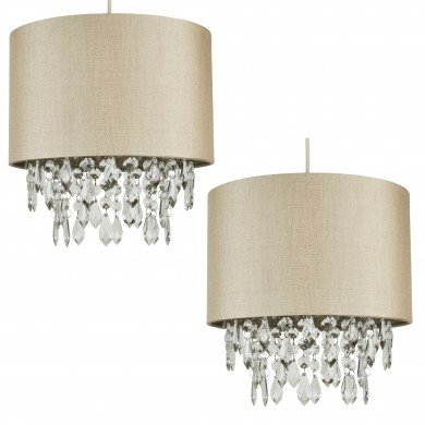 Pair of Pale Gold 250mm Easy Fit Shade with Matching Inner and Clear Dropletss
