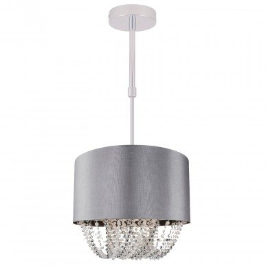 Large 40cm Grey Fabric Ceiling Adjustable Flush With Beaded Diffuser