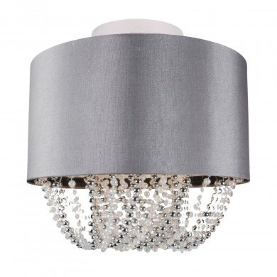 Large 40cm Grey Fabric Ceiling Flush With Beaded Diffuser