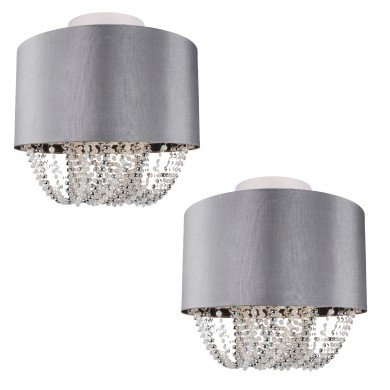 Set of 2 Large 40cm Grey Fabric Ceiling Flush With Beaded Diffuser