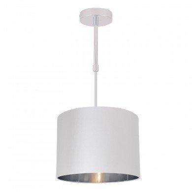 White Faux Silk 30cm Drum Light Ceiling Adjustable Flush Shade with Chrome Inner