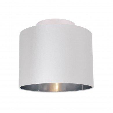 White Faux Silk 30cm Drum Light Ceiling Flush Shade with Chrome Inner