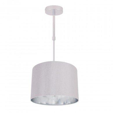 Grey Faux Silk 30cm Drum Light Ceiling Adjustable Flush Shade with Chrome Inner