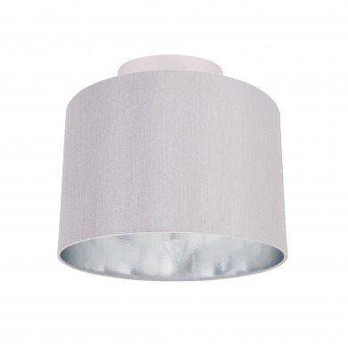 Grey Faux Silk 30cm Drum Light Ceiling Flush Shade with Chrome Inner