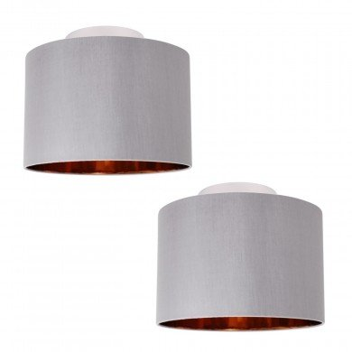 Set of 2 Grey Faux Silk 30cm Drum Light Ceiling Flush Shade with Copper Inner