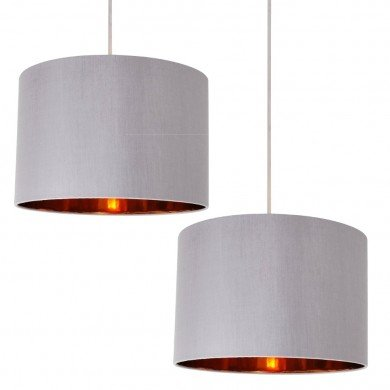 Set of 2 Grey Faux Silk 30cm Drum Light Shade with Copper Inner