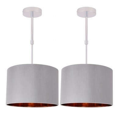 Set of 2 Grey Faux Silk 30cm Drum Light Ceiling Adjustable Flush Shade with Copper Inner