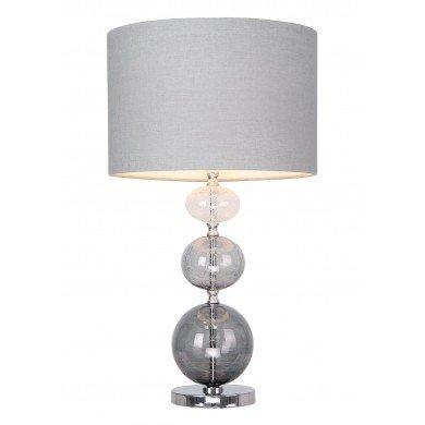 Sava - Smoke Ombre Three Ball Glass 53cm Lamp with Grey Linen Shade